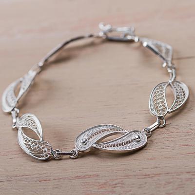 Bracelet, 'Joined Together' - Sterling Silver Fine Silver Link Bracelet