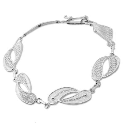 Silver filigree link bracelet, 'Joined Together' - Sterling Silver Fine Silver Filigree Link Bracelet