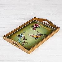 Glass tray, 'Company of Birds'