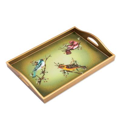 Glass tray, 'Company of Birds' - Reverse Painted Glass Birdlover Serving Tray