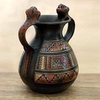 Cuzco vessel, 'Jaguar Sun' - Handmade Ceramic Wild Cat Vessel