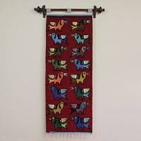Wool tapestry, 'Birds in Flight' - Wool tapestry