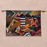 Wool tapestry, 'Andean Tears' - Wool tapestry