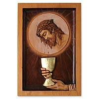 Cedar wood panel, 'Eucharist'