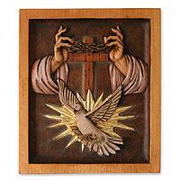 Cedar wood panel, 'Holy Trinity' - Cedar wood panel