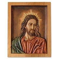 Cedar wood panel, 'Portrait of Christ' - Religious Cedar Wood Relief Panel of Jesus