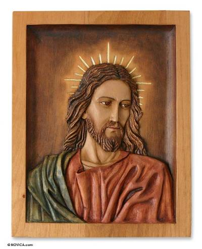 Cedar wood panel, 'Portrait of Christ' - Religious Cedar Wood Relief Panel of Jesus