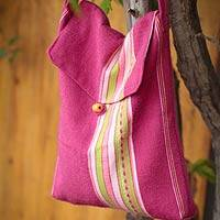 Alpaca shoulder bag, 'Strawberry Fizz' - Alpaca shoulder bag