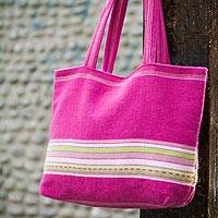 Alpaca handbag, 'Strawberry Lime' - Unique Pink Alpaca Wool Totebag