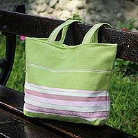 Alpaca handbag, 'Lime Strawberry ' - Hand Made Alpaca Wool Shoulder Bag