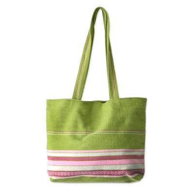 Novica Alpaca handbag, Strawberry Lime - Unique Pink Alpaca Wool Totebag
