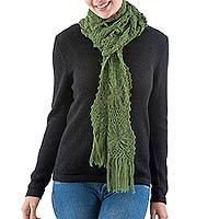 100% alpaca scarf, 'Emerald Daisy'