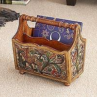 Leather and mahogany magazine rack, 'Songbirds' - Ornate Mahogany and Leather Magazine Rack from Peru