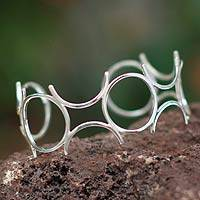 Silver cuff bracelet, 'Blossoming'