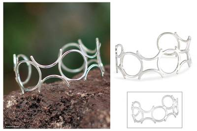 Silver cuff bracelet, 'Blossoming' - Fine Silver Cuff Bracelet