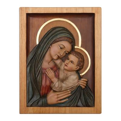 Cedar relief panel, 'Mary with Jesus in Her Arms' - Cedar relief panel