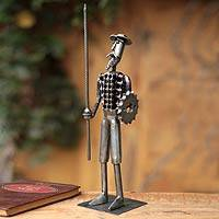 Iron sculpture, 'Gallant Don Quixote' - Handcrafted Recycled Metal Sculpture