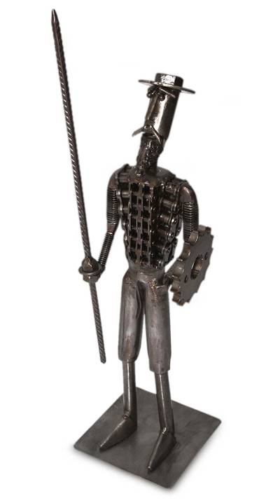 Handcrafted Recycled Metal Sculpture - Gallant Don Quixote | NOVICA