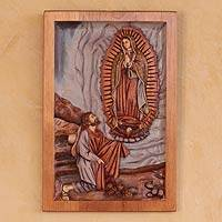 Cedar wall panel, 'Lady of Guadalupe and Juan Diego'