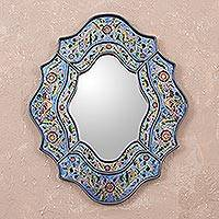 Reverse painted glass wall mirror, 'Blue Sky' - Artisan Made Reverse Painted Glass Wall Mirror