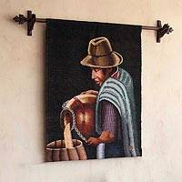 Wool tapestry, 'Preparing Chicha' - Wool tapestry