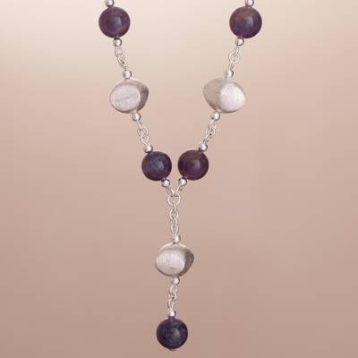 Amethyst Y-necklace, 'Shimmering Dew' - Peruvian Amethyst and Silver Y Necklace