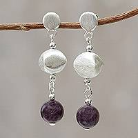Amethyst dangle earrings, 'Shimmering Dew' - Handcrafted Sterling Silver and Amethyst Earrings