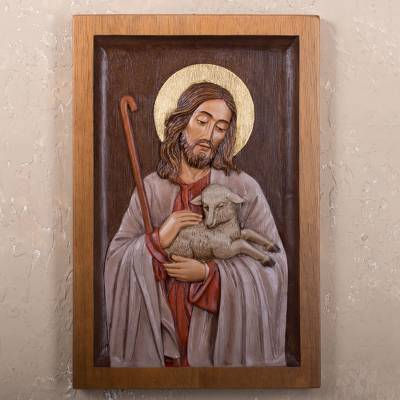 Jesus with lamb relief wall panel hand carved cedar the good