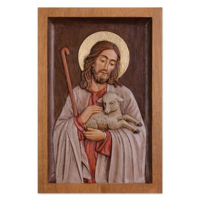 Cedar relief panel, 'The Good Shepherd' - Jesus with Lamb Relief Wall Panel Hand Carved Cedar