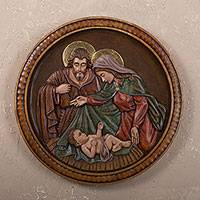Cedar wall relief panel, 'Nativity Medallion' - Cedar wall relief panel