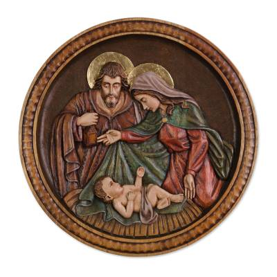 Cedar wall relief panel, 'Nativity Medallion' - Cedar wall relief panel