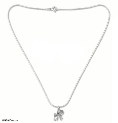 Silver choker, 'Playful Nazca Monkey' - Fine Silver Pendant Necklace