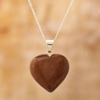 Mahogany obsidian heart necklace, Petal Heart