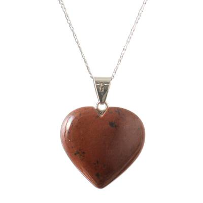 Mahogany obsidian heart necklace