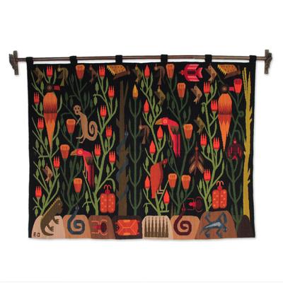 Wool wall hanging, 'Peruvian Jungle' - Artisan Hand Loomed Vibrant Wall Hanging Tapestry