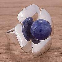 Sodalite flower ring, 'Dawn Flower' - Sterling Silver Flower Cocktail Ring with Sodalite