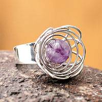 Amethyst solitaire ring, 'Sparrow's Nest' - Unique Sterling Silver Cocktail Amethyst Ring