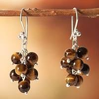 Tiger's eye cluster earrings, 'Honey Clusters' - Artisan Crafted Tiger's Eye Earrings