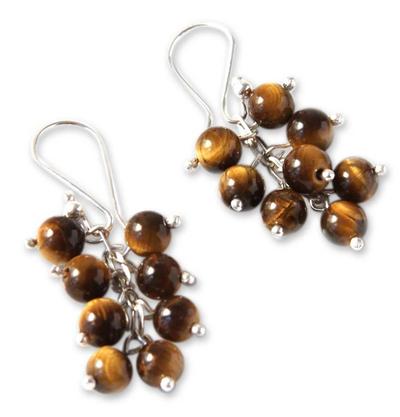 Tiger's eye cluster earrings, 'Honey Clusters' - Artisan Crafted Tiger's Eye Earrings
