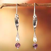 Amethyst dangle earrings, 'Enchanted' - Amethyst dangle earrings
