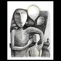 'My Father the Balloon Seller' - Cubist Charcoal Art
