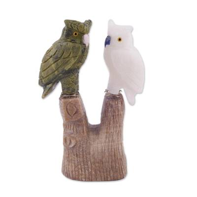 Serpentine and onyx sculpture, 'Curious Owls' - Serpentine and White Onyx Gemstone Sculpture