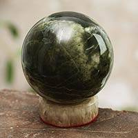 Serpentine sphere, 'Marine Depths' - Serpentine Sphere Sculpture with Calcite Base