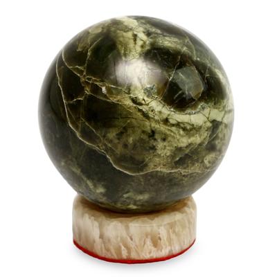 Serpentine sphere, 'Marine Depths' - Serpentine Sphere Sculpture with Calcite Base
