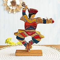 Cedar and mahogany sculpture, 'Scissors Dancer' - Mahogany and Cedar Dance and Music Wood Sculpture