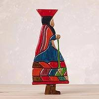 Cedar and mahogany sculpture, 'Wool Spinner' - Cultural Wood Multicolor Sculpture