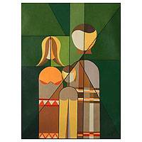 'Amazon Family' (2007) - Cubist Family Portrait Painting