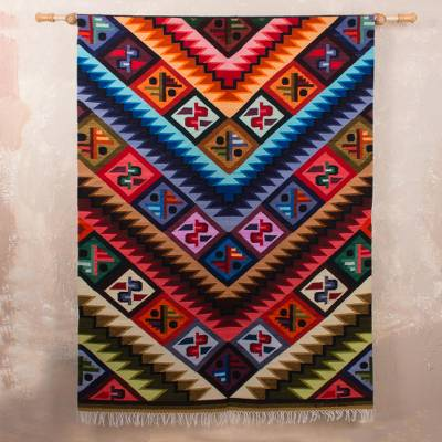 Wool tapestry, 'Rainbow Alphabet' - Wool Geometric Tapestry Wall Hanging (5x4)