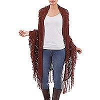 100% alpaca shawl, 'Romantic' - Hand Made Floral Alpaca Wool Crocheted Shawl