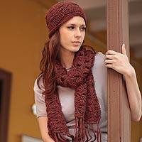 100% alpaca scarf and hat set, 'Burgundy Fans' - Handmade Alpaca Wool Solid Winter Scarf and Hat Set
